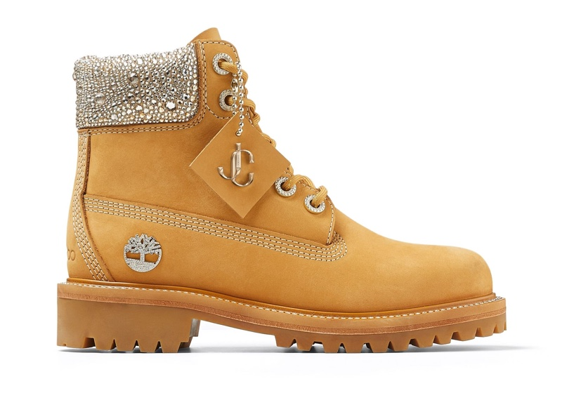 Jimmy Choo x Timberland Wheat Leather Boots with Crystal Collar $1,295