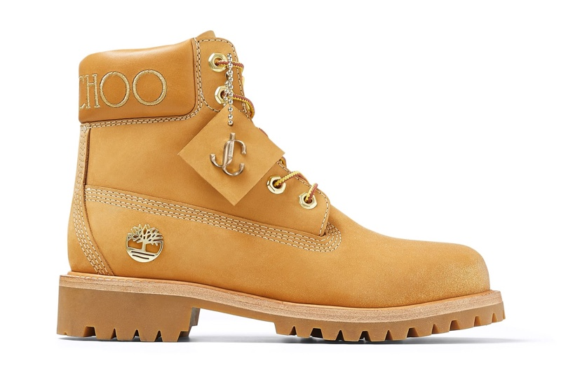 Jimmy Choo x Timberland Wheat Leather Boots with Gold Glitter $595