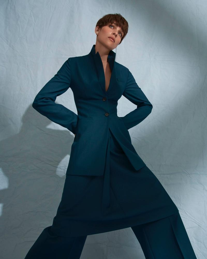 Kim Noorda Models Tailored Looks for ELLE Germany