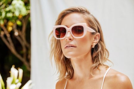Looking pretty in pink, Kristin Cavallari wears Uncommon James x DIFF Eyewear collaboration.
