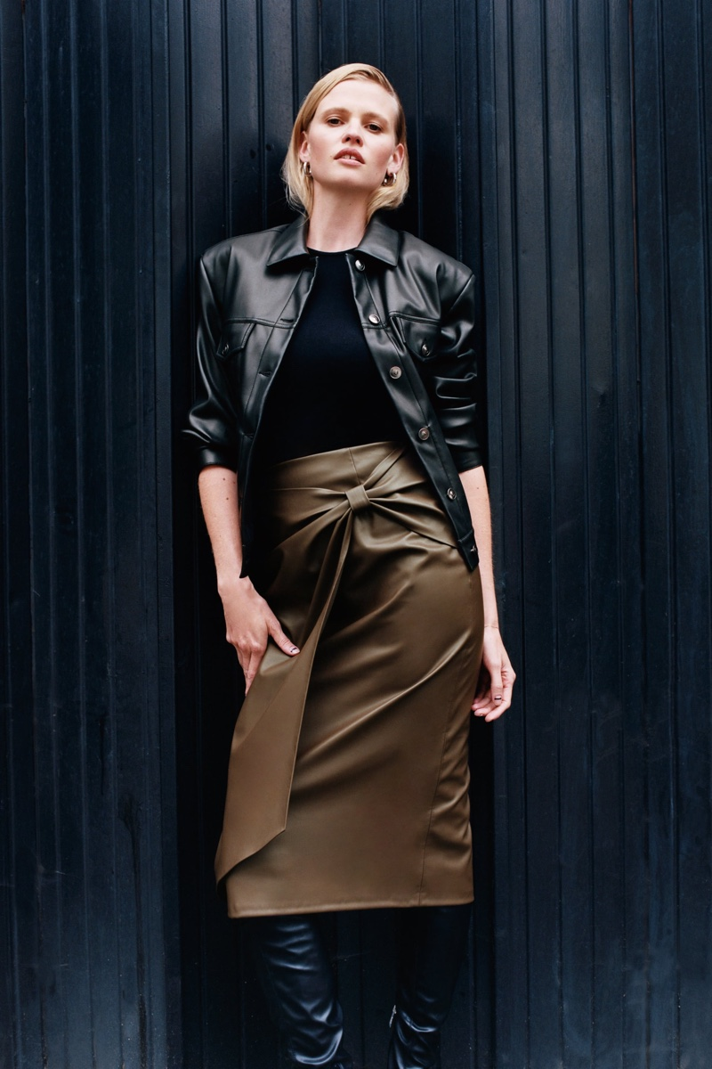 Lara Stone Poses in Zara's Tailored Outfits