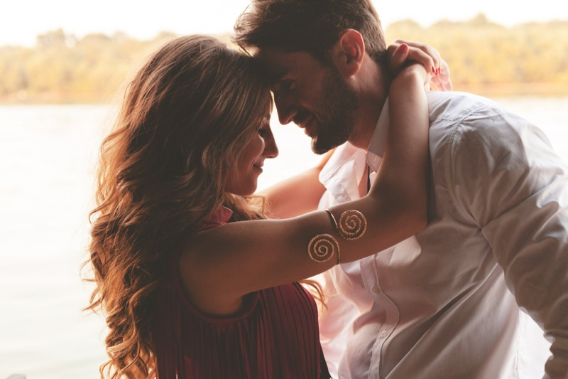 Loving Attractive Couple Embrace Smiling