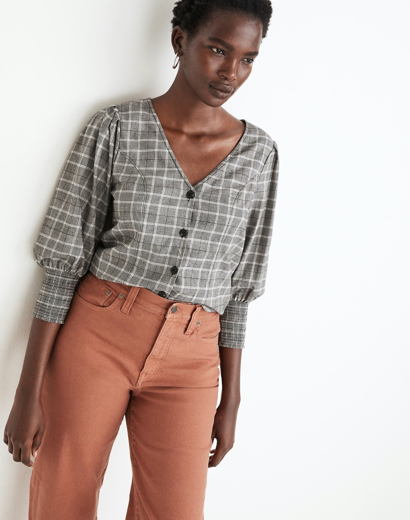 Madewell Plaid Smocked-Cuff Button-Front Shirt $88