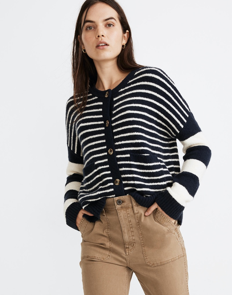Madewell Stripe-Play Colburne Cardigan Sweater $89.50