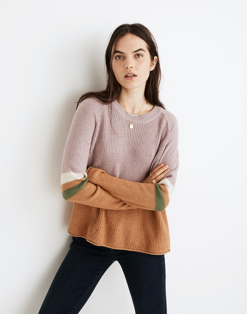 Madewell Striped Roll-Trim Waffle Pullover Sweater $69.50