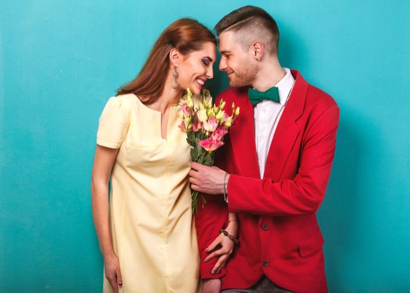 Man Giving Bouquet Woman Flowers Couple Romantic