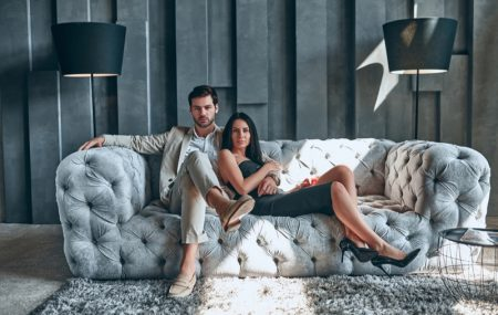 Man Woman Stylish Couple Home Minimal Quilted Couch