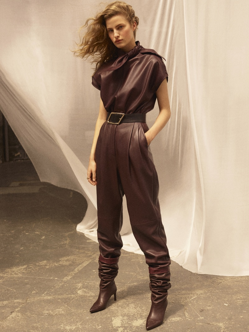 Massimo Dutti Limited Edition Leather Top with Bow, Leather Trousers, and Leather Belt with Rhombus Buckle.