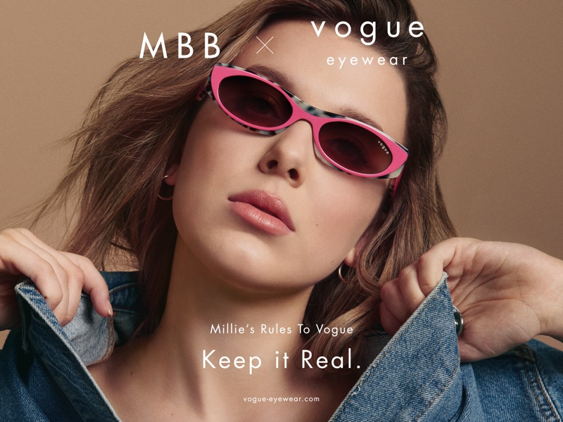 Actress Millie Bobby Brown teams up with Vogue Eyewear on second collaboration.