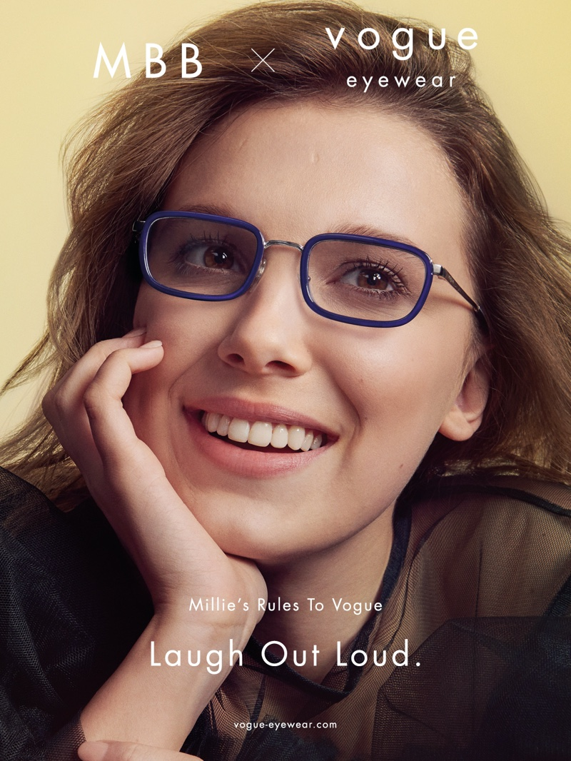 All smiles, Millie Bobby Brown fronts 2nd Vogue Eyewear collaboration.