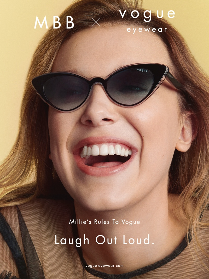 Laugh Out Loud: Millie Bobby Brown wears cat-eye sunglasses from Vogue Eyewear collaboration.