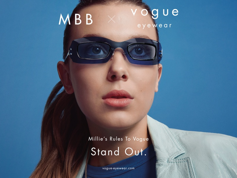 Millie Bobby Brown fronts Vogue Eyewear collaboration campaign.
