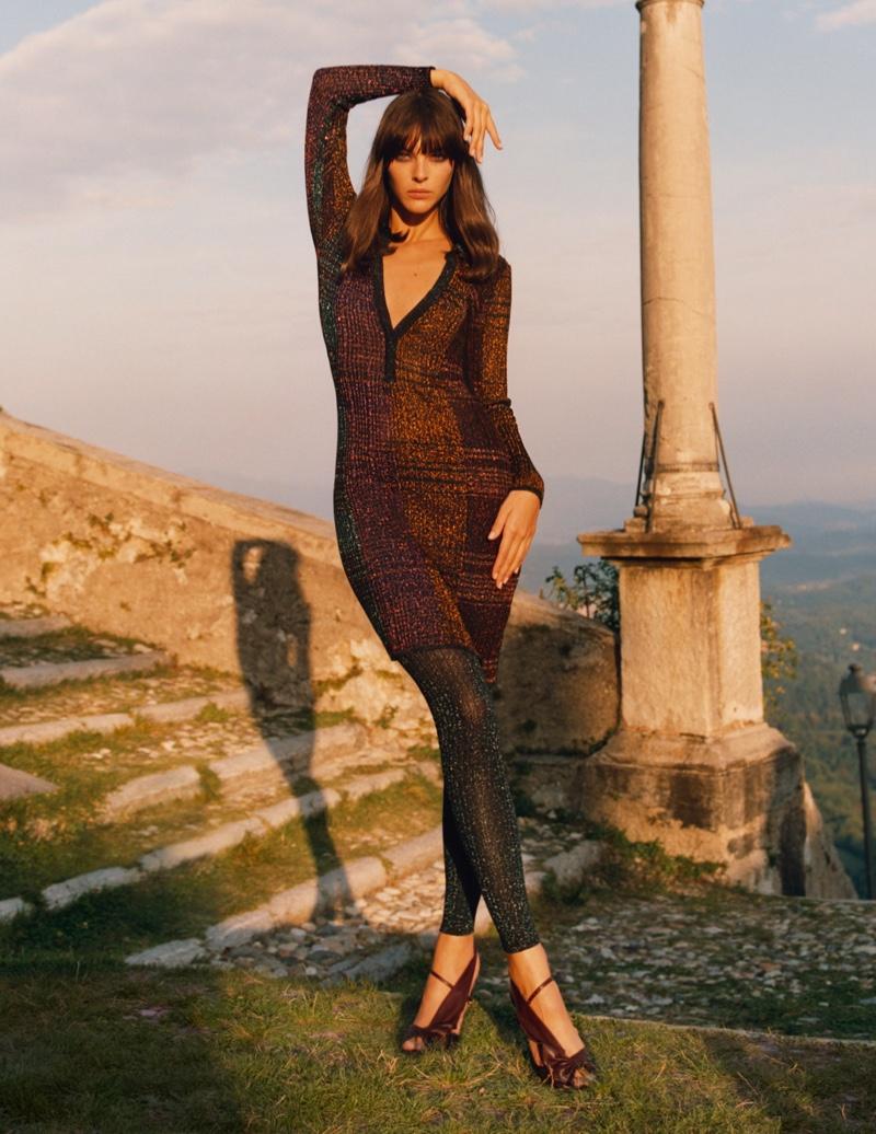Model Vittoria Ceretti poses in Missoni fall-winter 2020 campaign.