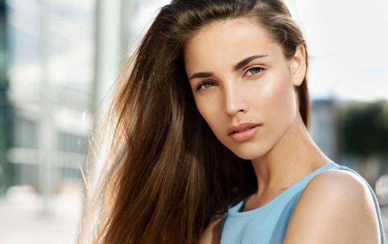 Model Clear Skin Natural Makeup Brown Hair Beauty
