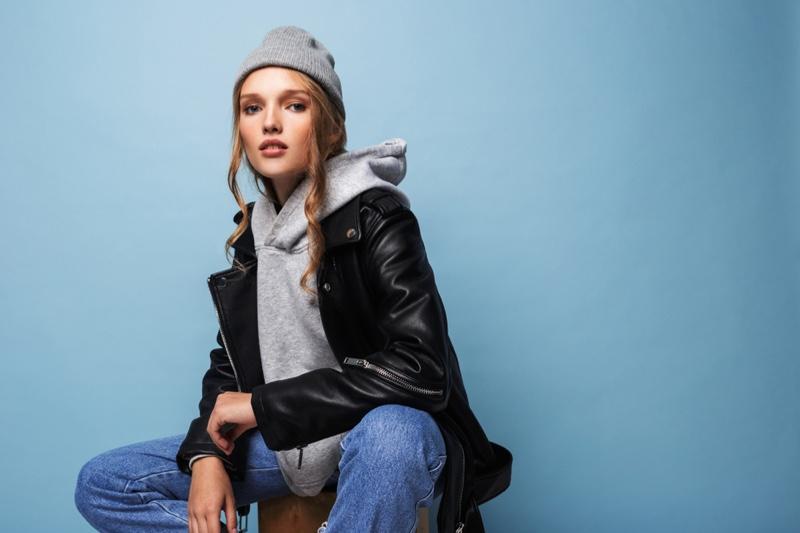 Model Leather Jacket Hoodie Jeans Beanie