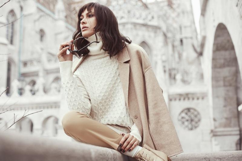 Model Neutral Look White Sweater Light Jacket London Background