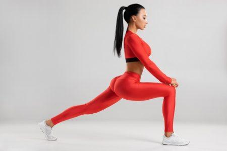 Model Red Top Leggings Lunging Fitness