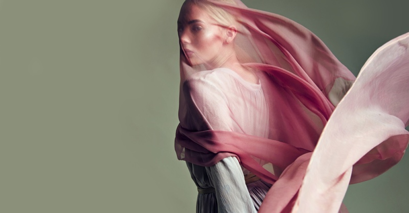 Model Sheer Chiffon Pink Fabric Concept