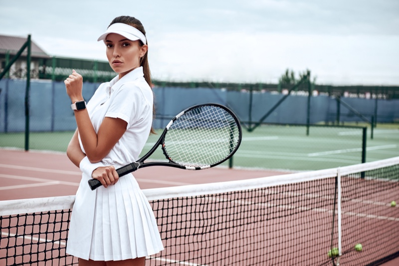 Model White Tennis Outfit Sport Court
