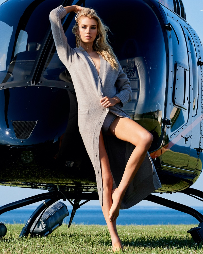 Stella Maxwell poses in Selena long cardigan from Naked Cashmere.