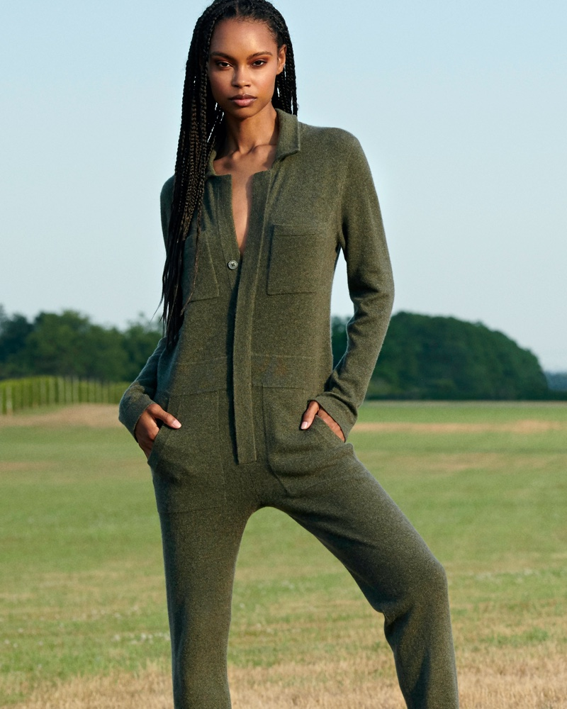 Taelor Thein poses in Aspen jumpsuit from Naked Cashmere's fall 2020 collection.