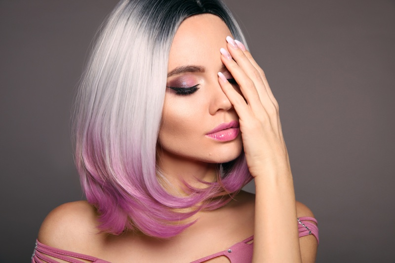 Ombre Grey Pink White Long Bob Wig Model Hairstyle