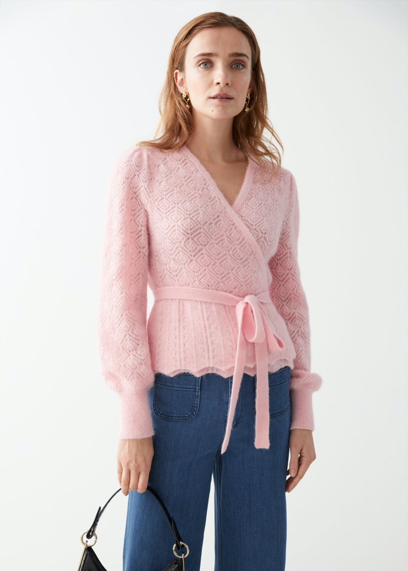 & Other Stories Alpaca Blend Wrap Cardigan in Light Pink $99