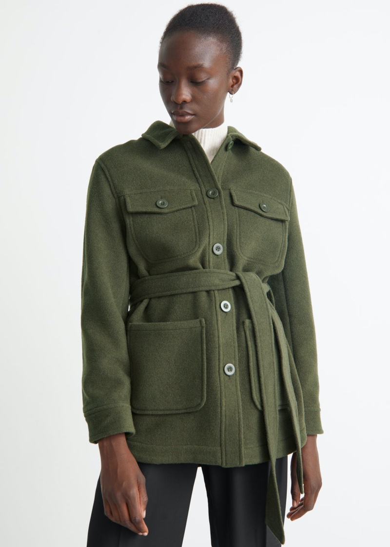 & Other Stories Belted Overshirt Jacket in Khaki $149