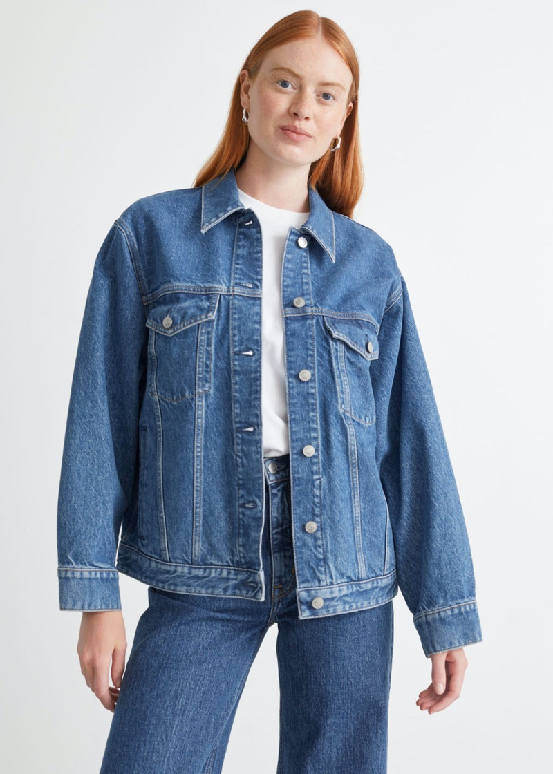 & Other Stories Button Up Denim Jacket in Bose Blue $119