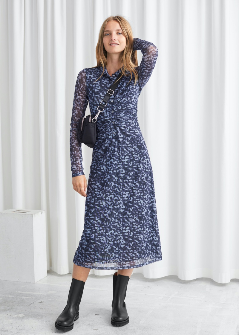 & Other Stories Fitted Midi Shirt Dress $89