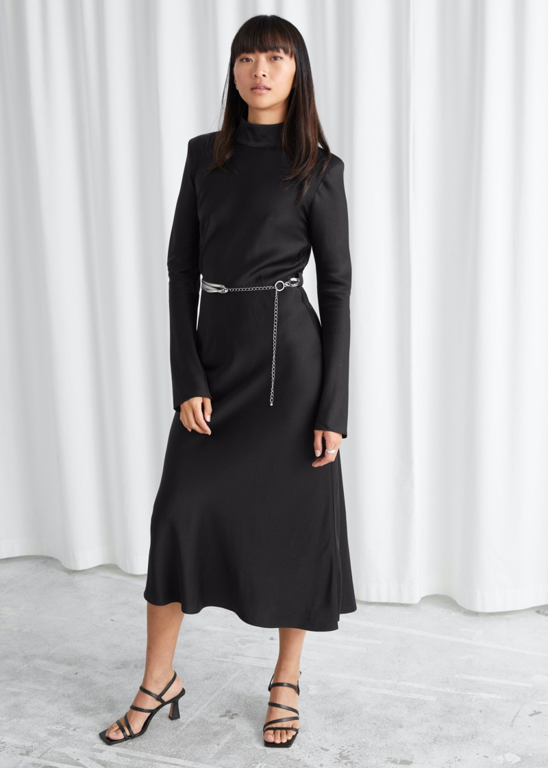 & Other Stories Fitted Padded Shoulder Midi Dress $149