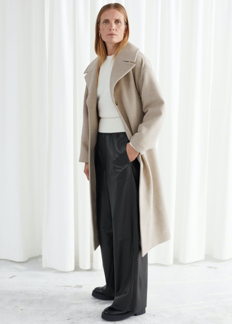 & Other Stories Oversized Belted Recycled Wool Coat in Oatmeal $279