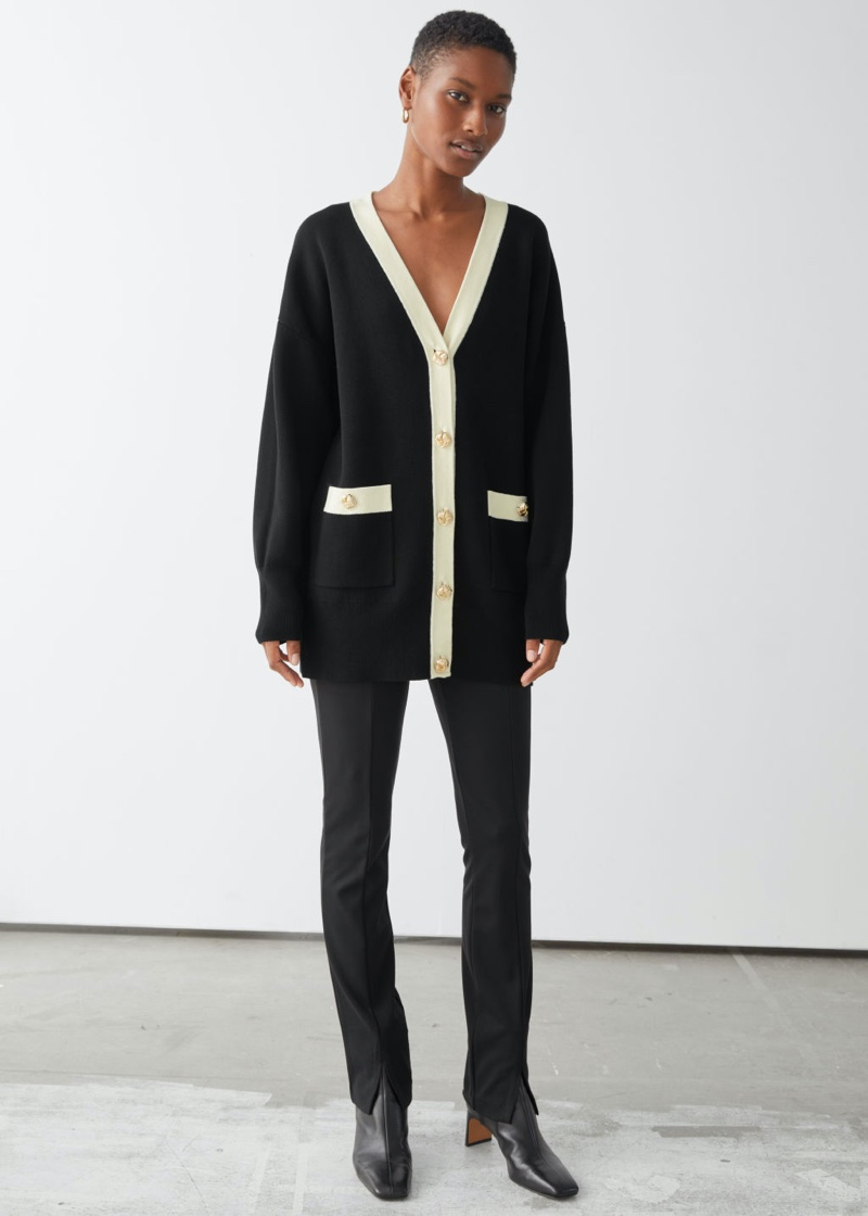 & Other Stories Oversized Gold Button Cardigan in Black $119