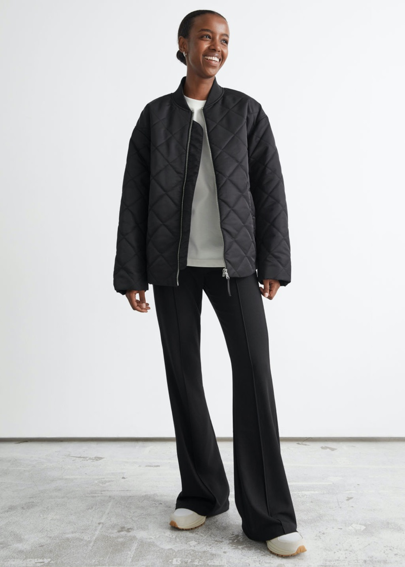 & Other Stories Oversized Quilted Bomber Jacket $149