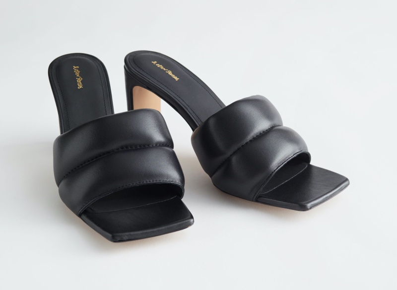 & Other Stories Padded Leather Heeled Sandals in Black $129