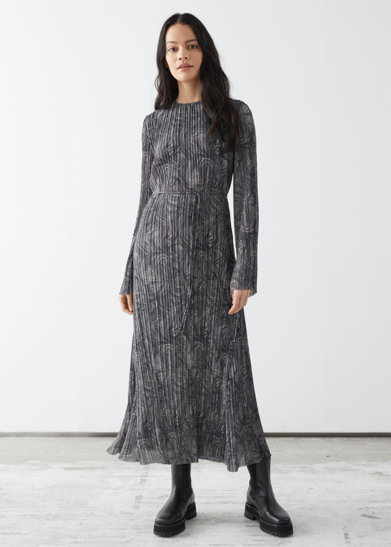 & Other Stories Pleated Belted Floaty Maxi Dress $129