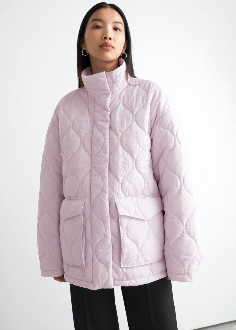 & Other Stories Quilted Zip Jacket in Lilac $149