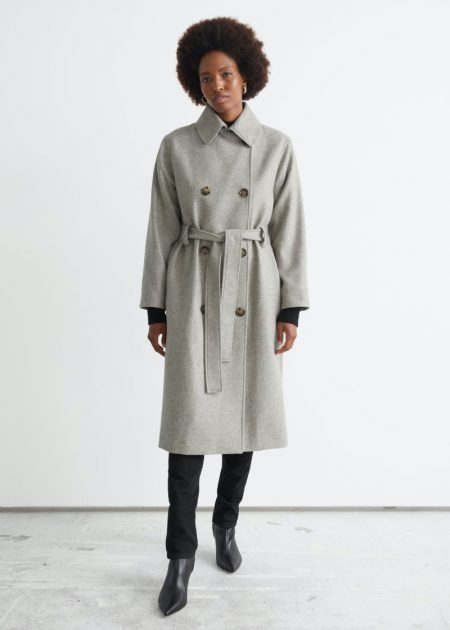 & Other Stories Relaxed Wool Blend Trench Coat $249