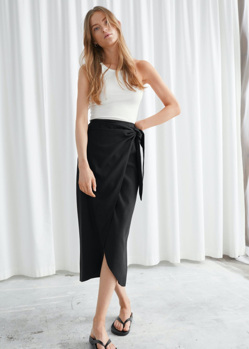 & Other Stories Scarf Tie Maxi Wrap Skirt in Black $69