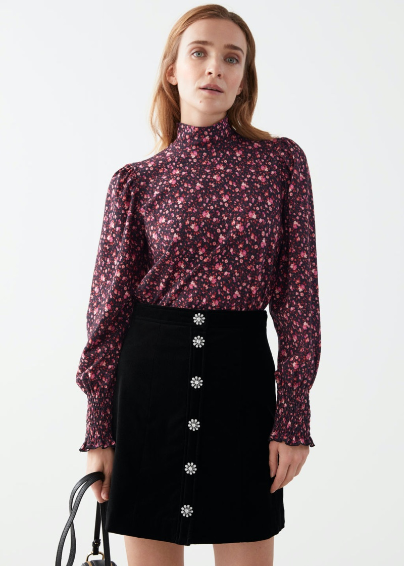 & Other Stories Smocked Cuff High Collar Top in Red Florals $59