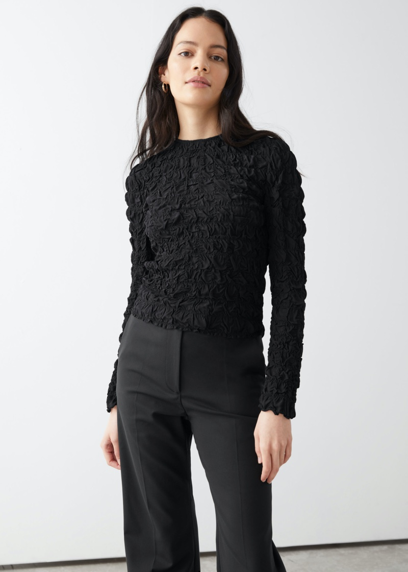 & Other Stories Smocked High Collar Top $99
