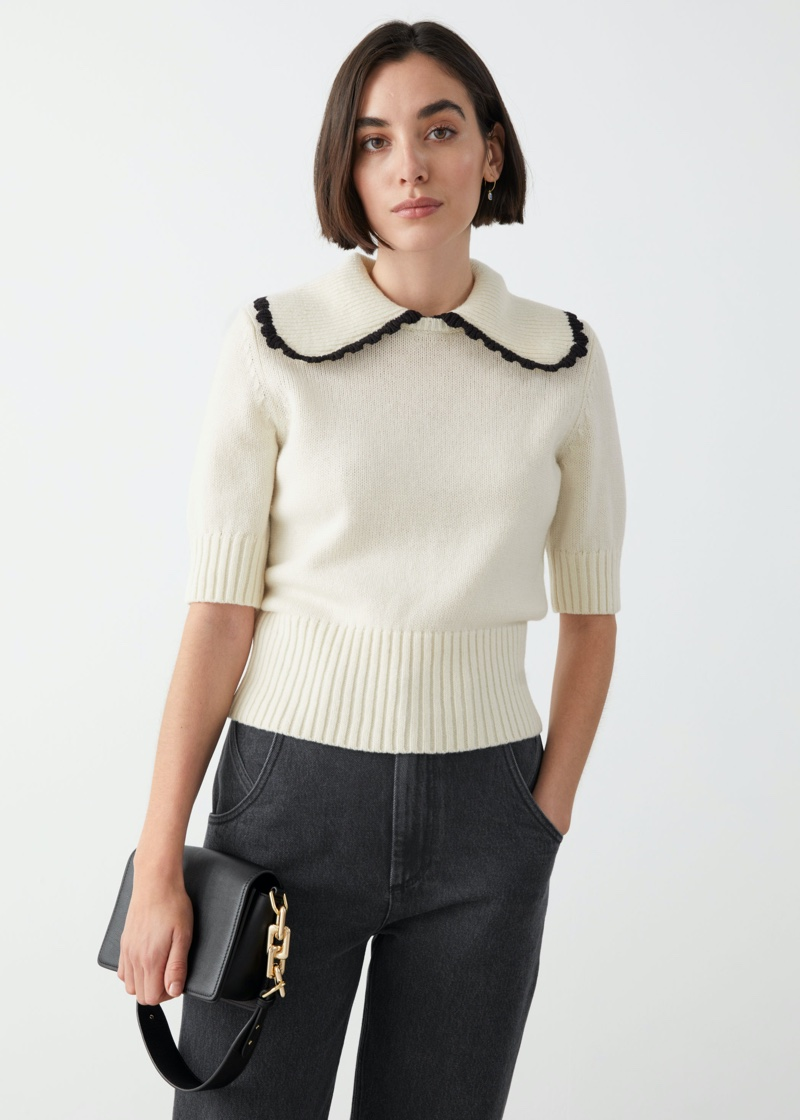 & Other Stories Wide Collar Wool Knit Sweater in White $89