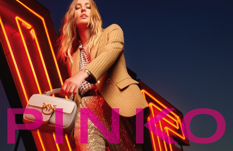 Nadja Bender is the face of Pinko's fall-winter 2020 campaign.