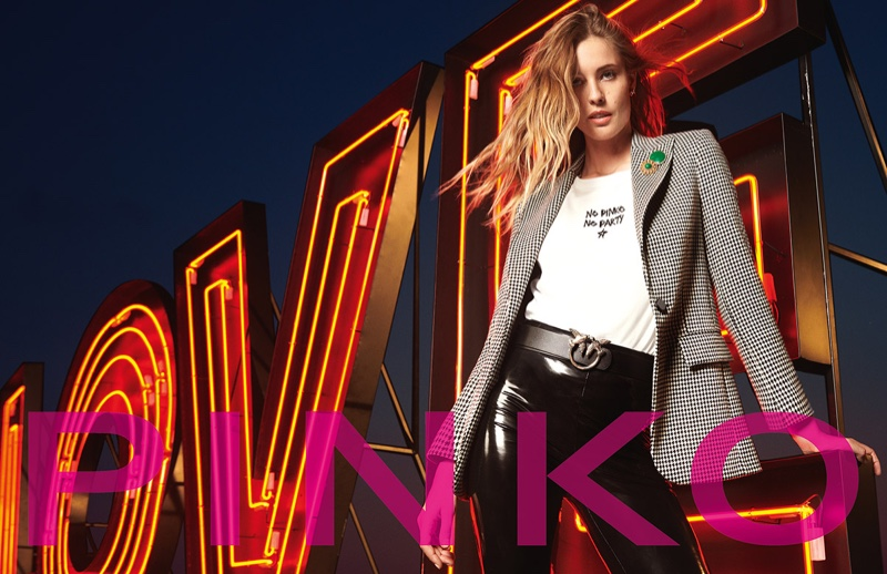 Model Nadja Bender poses for Pinko fall-winter 2020 campaign.