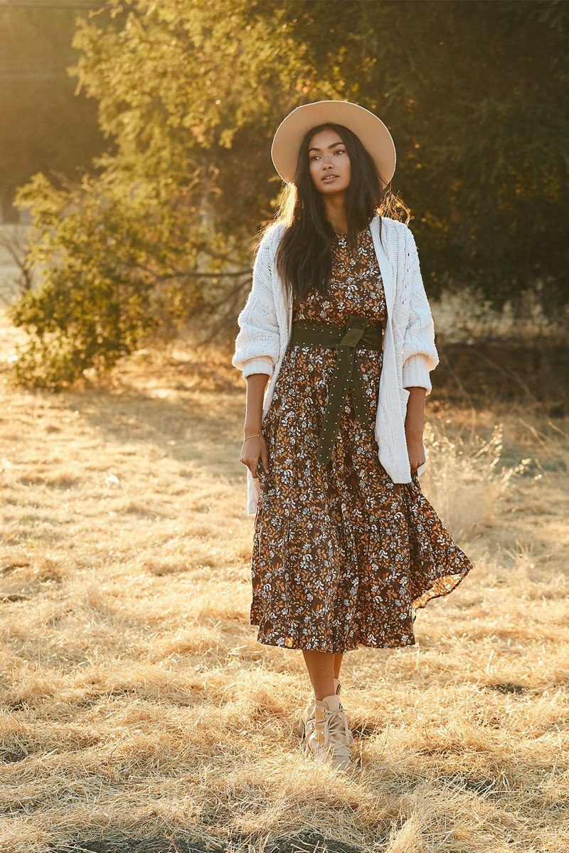 Porridge Effie Maxi Dress in Brown Motif $168