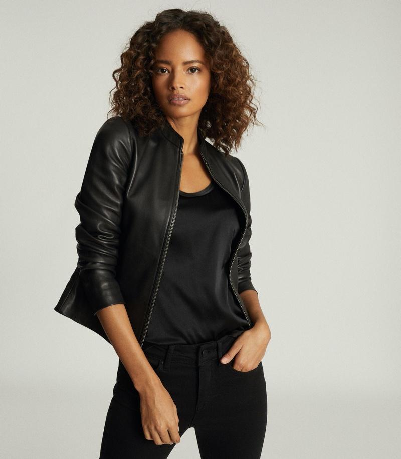 REISS Allie Leather Collarless Biker Jacket $620