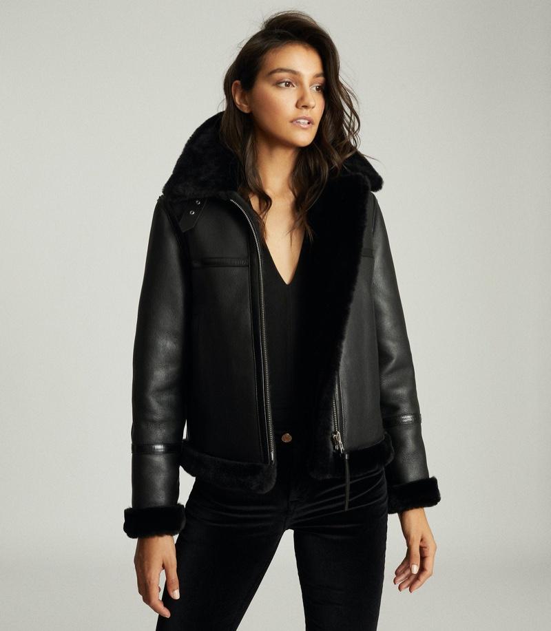 REISS Margot Reversible Shearling Aviator Jacket $1,685