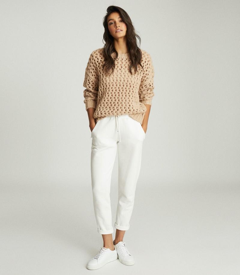 REISS Natalie Open-Knit Oversized Jumper in Neutral $275