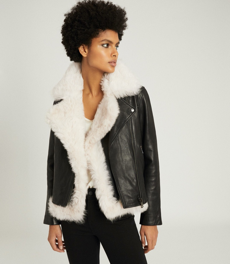 REISS Nolan Leather Biker Jacket with Shearling Gilet $1,875