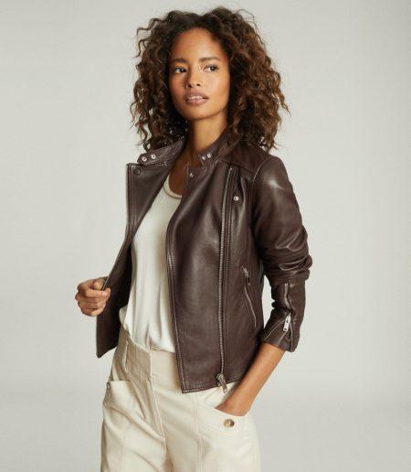 REISS Tallis Leather Biker Jacket in Plum $695